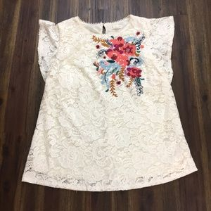 Anthro Meadow Rue lace floral boho embroidered top